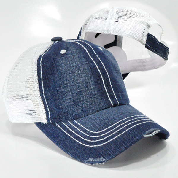 PT-501 PLAIN TRUCKER CAP DENIMWHT