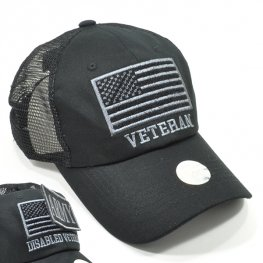 MT-001 VETERAN PLAIN VELCRO PATCH CAP BLACK