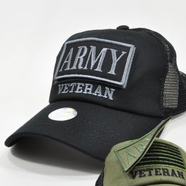 MT-101 ARMY VETERAN PATCH CAP BLACK