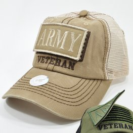 MT-101 ARMY VETERAN PATCH CAP KHAKI
