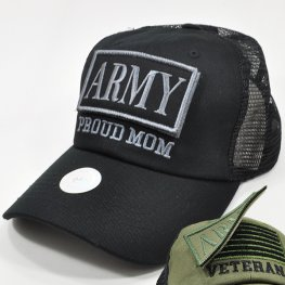 MT-102 ARMY PROUD MOM PATCH CAP BLACK