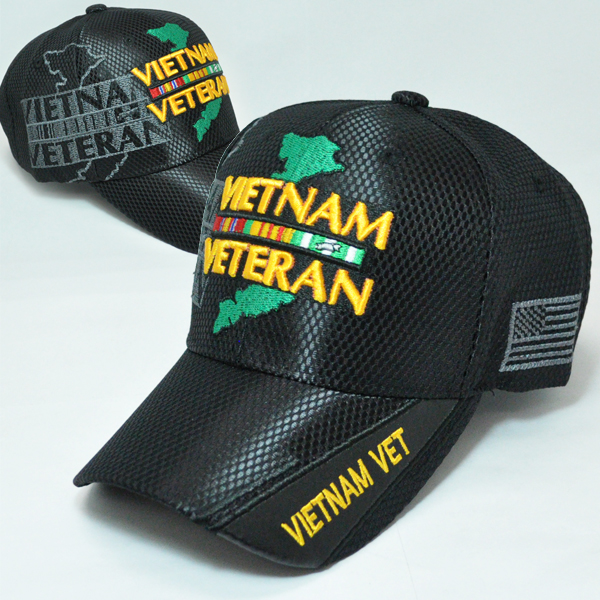 MEMI-243 NEW MESH VIETNAM VET MAP BLACK