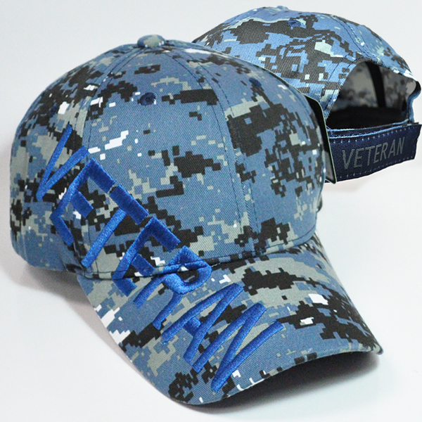 VET-001 PLAIN VETERAN CAPS BLUE
